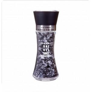 Salt grinder with white and black salt flakes 100 gr